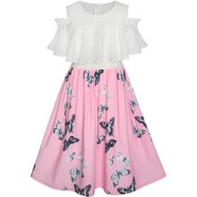 Girls Chiffon Butterfly Ruffle Cold shoulder Party Dress Size 7-14