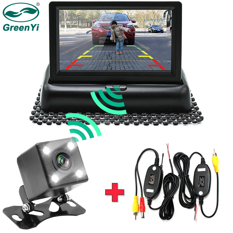 GreenYi Wifi Wireless Rear View Camera Vehicle Folding Foldable Monitor Video System Car Parking Monitor With Reverse Camera