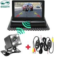 GreenYi 와이파이 무선 후면보기 카메라 차량 접이식 접이식 모니터 비디오 시스템 역방향 카메라와 자동차 주차 모니터