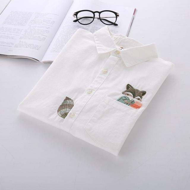 Raposa dos desenhos animados Bordado Branco Camisa de Manga Longa Mulheres Blusa de Algodão Frete Grátis