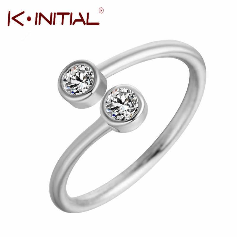 Kinitial Anel de Cristal Ajustável Peixe Cauda Da Baleia Geométrica Quadrado Redondo CZ Zircon Anéis Para Mulheres Presente de Casamento Nupcial Jóias