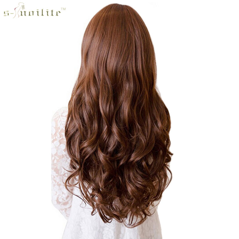 "SNOILITE 17/24/28/30"" Long Curly Synthetic Clip in Hair Extensions Half Full Head Hairpiece One Piece Black Brown Blond colors"