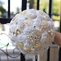 Eeuwige Angel 2017 nieuwe ambachtelijk lint bruidsboeket bruiloft hold kunstmatige bloemen met parels en kristallen kan aangepaste