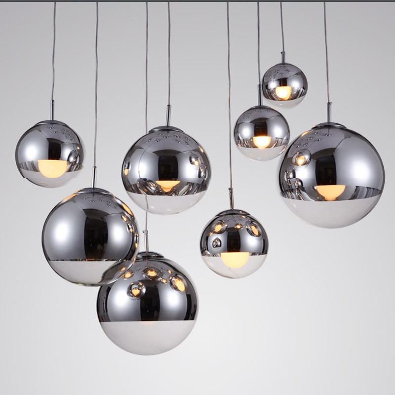 Modern Pendant Lights Coffee Shop Mirror Glass Ball