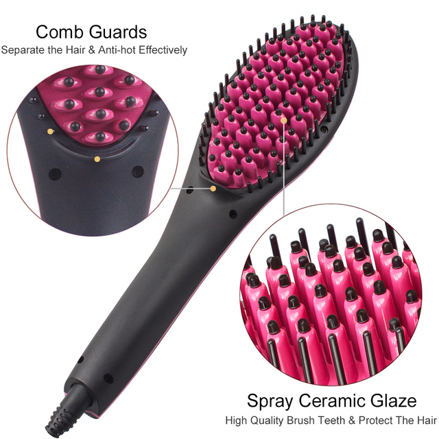 Ceramic Electric Hair Brush Hair Straightener Straightening Flat Iron Comb Digital Control Heating Brushes High Quality