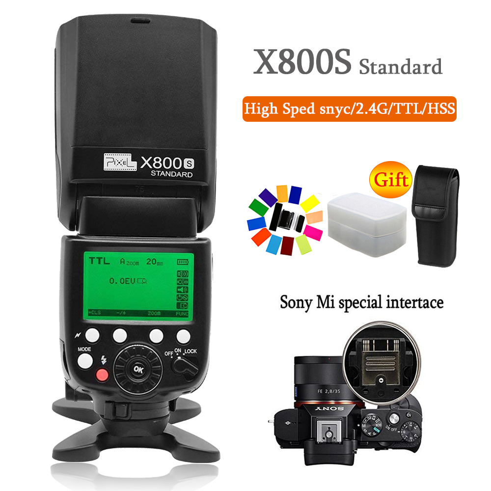 Pixel X800S 2.4G Wireless Flash Speedlite with TTL HSS 1/8000s Flash for Sony DSLR Camera A7 A7S A7SII A7R A7RII A7II A6000 A630 pixel x800s standard gn60 hss ttl flash speedlite 2pcs king pro 2 4g flash trigger transceivers for sony a7 a7s a7r a7rii