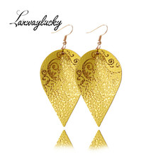10pairs/lot 6.2x3.5cm PU Leather Water Droplet Drop Earrings Women Statement Jewelry Leaves Shaped Eardrop Charm Gifts