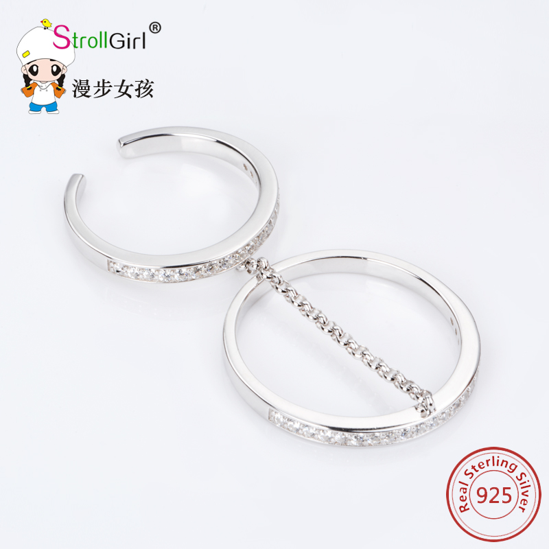 Hot Sale Women Bridal Ring 925 Sterling-silver-jewelry Accessories Finger Rings for Women Double Rings Silver Jewelry Charm Gift