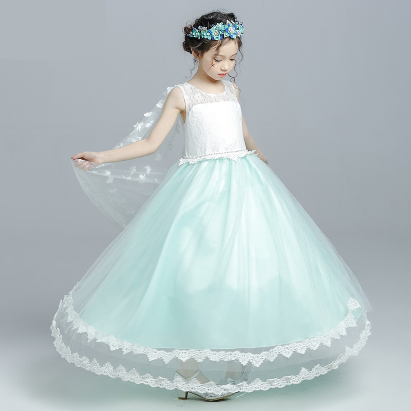 lake blue dress children princess summer sleeveless dress 2017 new knife lake