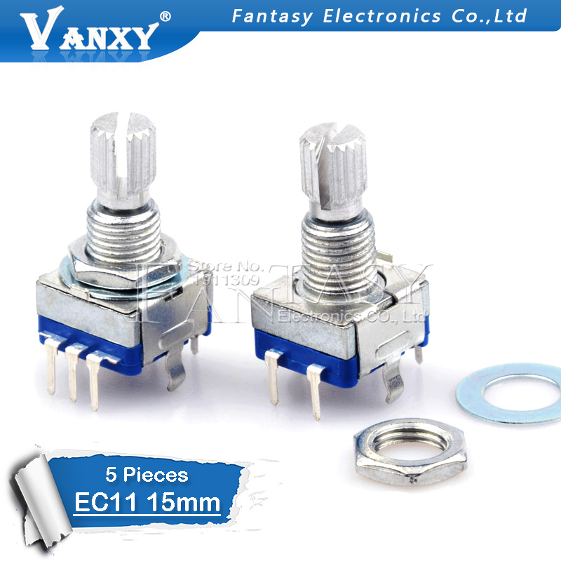 5PCS Plum Handle 15mm Rotary Encoder Coding Switch / EC11 / Digital Potentiometer With Switch 5 Pin