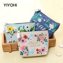 YIYOHI 2017 PU Cute Style Novelty Beautiful Flower Zipper Plush Square Coin Purse Kawaii Children Coin Bag Women Wallets