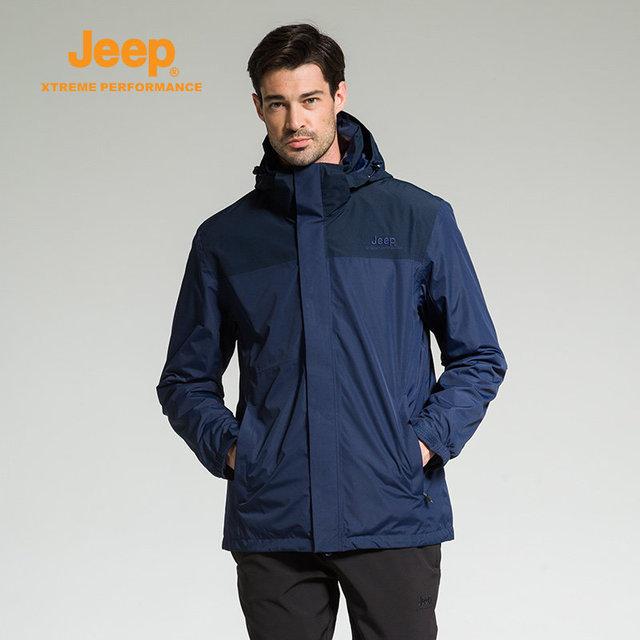 Jeep 2018 New Mens Autumn Winter 3 In 1 Jackets Windproof Waterproof Two-piece Outerwear Men Thermal Fleece Casual Fashion Coats