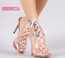 Summer Fashion Transparent PVC Boots Sexy Peep Toe Ladies Lace Up Boots Pink Shoelace Women High Heel Boots Sexy Party Shoes