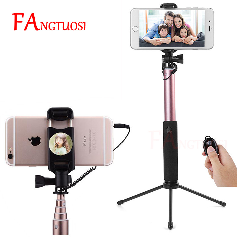 FANGTUOSI Phone Bluetooth Selfie Stick Remote Control Portable Handheld Wired Monopod WIth mirror For iPhone 6s 5 Mini Tripod cell phone tripod with bluetooth remote control mobile phone selfie stick mini tripod for sport camera light monopod with clip