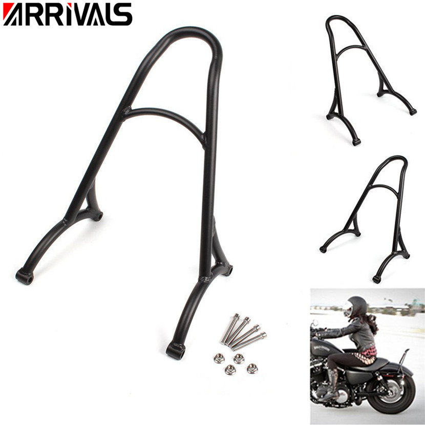 Motorcycle Black Chrome Short Passenger Sissy Bar Backrest For Harley 883 XL1200 1200 Forty Eight 48 Seventy Two 72 2009-2017 black motorcycle short passenger backrest bracket sissy bar case for harley sportster iron 883 1200 xl883 xl1200