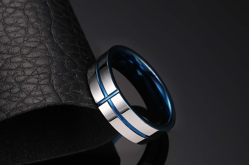 Vnox New 100 Tungsten Carbide Rings 6mm Wedding Bands Mens Jewelry Cross Design In From Accessories On Aliexpress