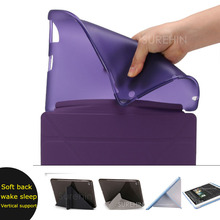 Niza tpu suave silicona de nuevo caso + soporte elegante de la cubierta para apple ipad 2 3 4 caso de cuero de LA PU estela del sueño magnético delgado