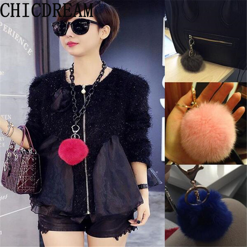 Wholesale New Fashion Chaveiro Keychain Fur Pom Pom Key Chain Real Rabbit Hair Bulb Bag Car Ornaments Fur Ball Pendant Gifts