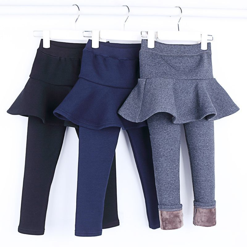 2018 New Winter Girls Skirt Pants Girls Plus Velvet Thicker Pant Two False Skirt-pants Children's Velvet Leggings Girls Bootcut striped tape applique velvet pants
