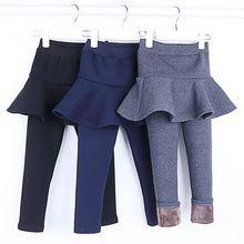 2018 New Winter Girls Skirt Pants Girls Plus Velvet Thicker Pant Two False Skirt-pants Children's Velvet Leggings Girls Bootcut