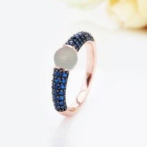 Image 3 - Zwart En Rose Goud Met Blauwe Zirkoon Kristallen Fashion Ring Gift 15 Kleuren