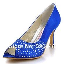 Sexy Blue Women Shoes 2016  EP11021 Peep Toe Rhinestone 3.5inch High Heels Wedding Shoes Satin Woman Prom Pumps
