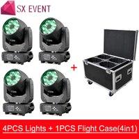 Шт. 4 шт. огни + шт. 1 кейс 6 x Вт 40 Вт RGBW пчела светодио дный глаз Moving Head Light ZOOM функция DJ вечерние партии освещение