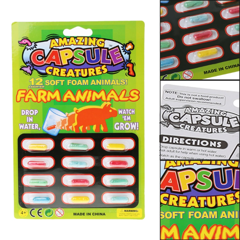 4PCS Funny Novelty Magic Grow Capsules Baby Cognition Toys Larger In Water Gag Toys