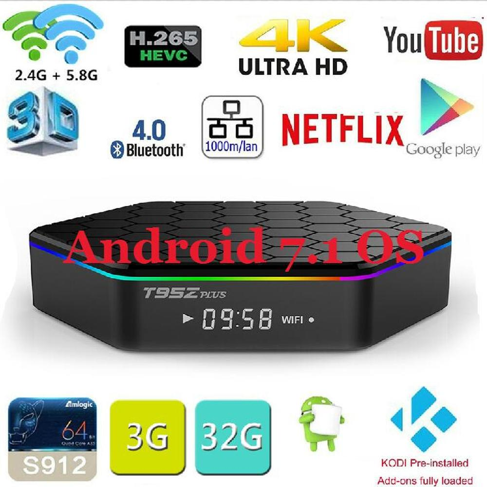 Original T95Z plus Android 7.1 TV BOX T95Z Plus Amlogic S912 Set Top box OctaCore 2GB/3GB 16GB/32GB Dual WiFi Smart media Player