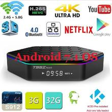 D'origine T95Z plus Android 7.1 TV BOX T95Z Plus Amlogic S912 Set Top box OctaCore 2 GB/3 GB 16 GB/32 GB Double WiFi Smart media Player