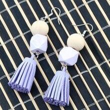 Handmade 1 Pair Wood Earing Geometric Drop Earrings DIY Purple Tassel Wooden Earring for Women