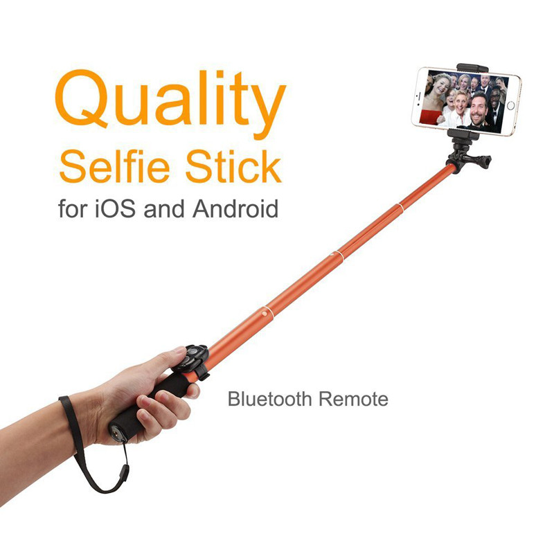 Bluetooth Selfie Stick GoPro Monopod with Tripod Stand for iPhone and Android (Orange) (3)