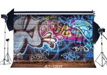 Fotografie Achtergronden Graffiti Stijl Levendige Artistieke Bakstenen Muur Achtergrond