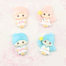 2 pcs/lot Lovely Cartoon DIY Resin patch Little Twin Stars Figurine crafts Phone case Coin Bag accessories kids figure toy(China)