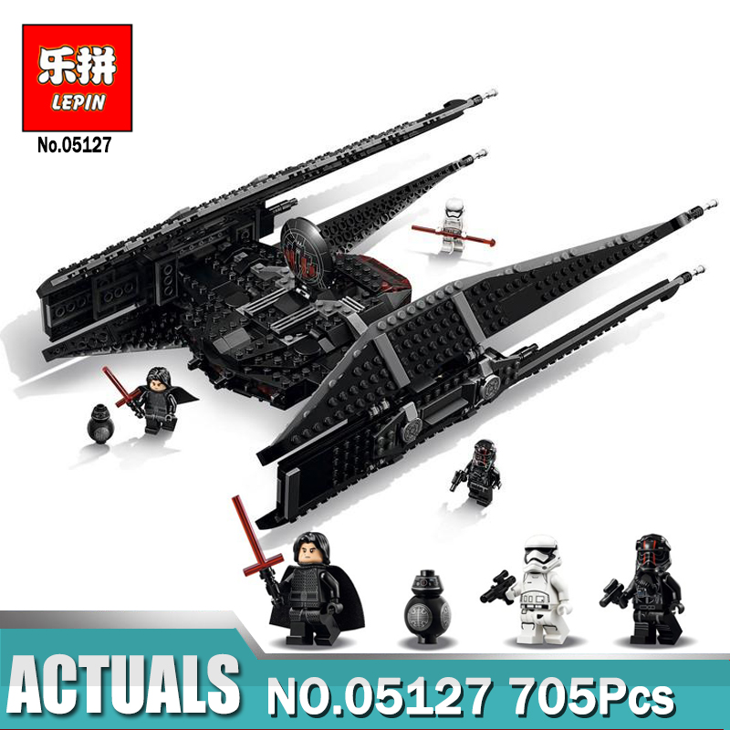 Lepin 05127 Star Series Wars Kylo Ren Tie Fighter First Order Starship Model Building Blocks Toys Compatible LegoINGlys 75179 lepin 05127 705pcs star plan series the 75179 tie model fighter set building blocks bricks educational kids toys christmas gifts