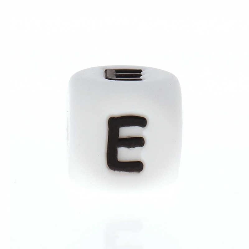 100pcs רוסית האלפבית 12mm סיליקון מכתבי קוביית חרוזים Teether BPA משלוח תינוקות בקיעת שיניים תכשיטי אביזרי תינוק שרשרת DIY