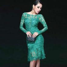 Сексуальные женщины кружева с длинным рукавом атласа лоскутное ну вечеринку элегантный средний-икры платье LC6761