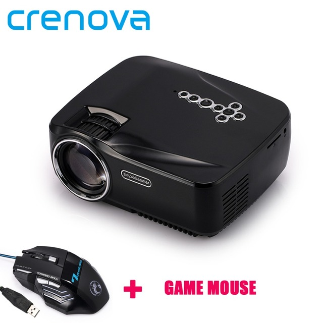 Crenova GP70UP Projector 1200 Lumens Free Mouse Mini Projector Support 1920x1080P LED Projector for Home Cinema ATV Port