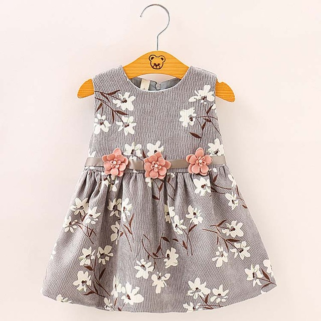 ... various styles 80a75 0d0a8 4088 Autumn Flower Prints Corduroy Toddler  Kid Dresses For Baby Girls Children ... c085323892c1