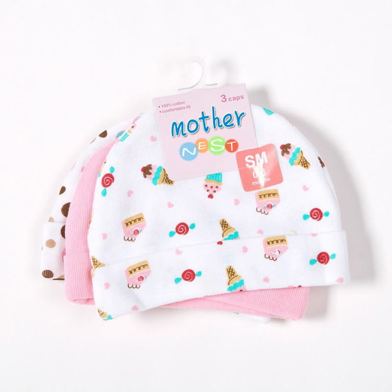 Mother Nest 3pcslot Baby Hats PinkBlue Star Printed Baby Hats & Caps for Newborn Baby Accessories (2)