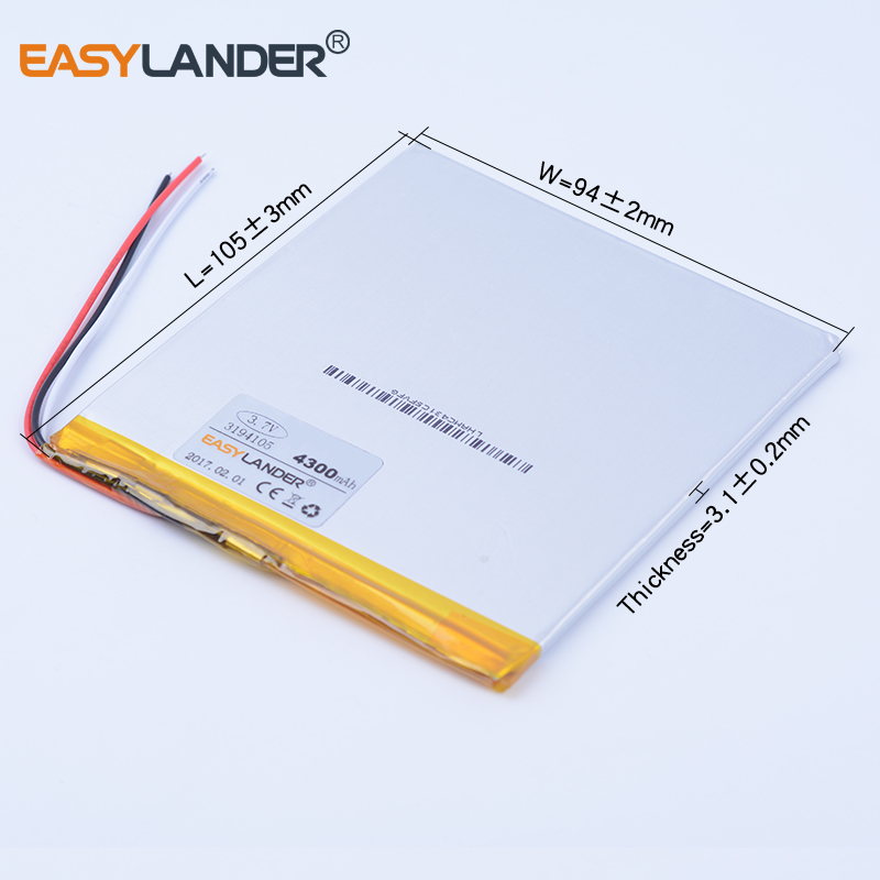4300 mah tablet pc bateria De Polímero De Lítio células Baterias Li-Po bateria Recarregável de iões de li 3194105 3.7 v PARA CHUWEI VI8 onda v820 v80
