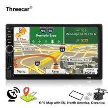 2 Din Автомобильный мультимедийный плеер + gps навигации + Камера карта 7 »HD Сенсорный экран Bluetooth Авторадио MP3 MP5 видео стерео радио 7018 г