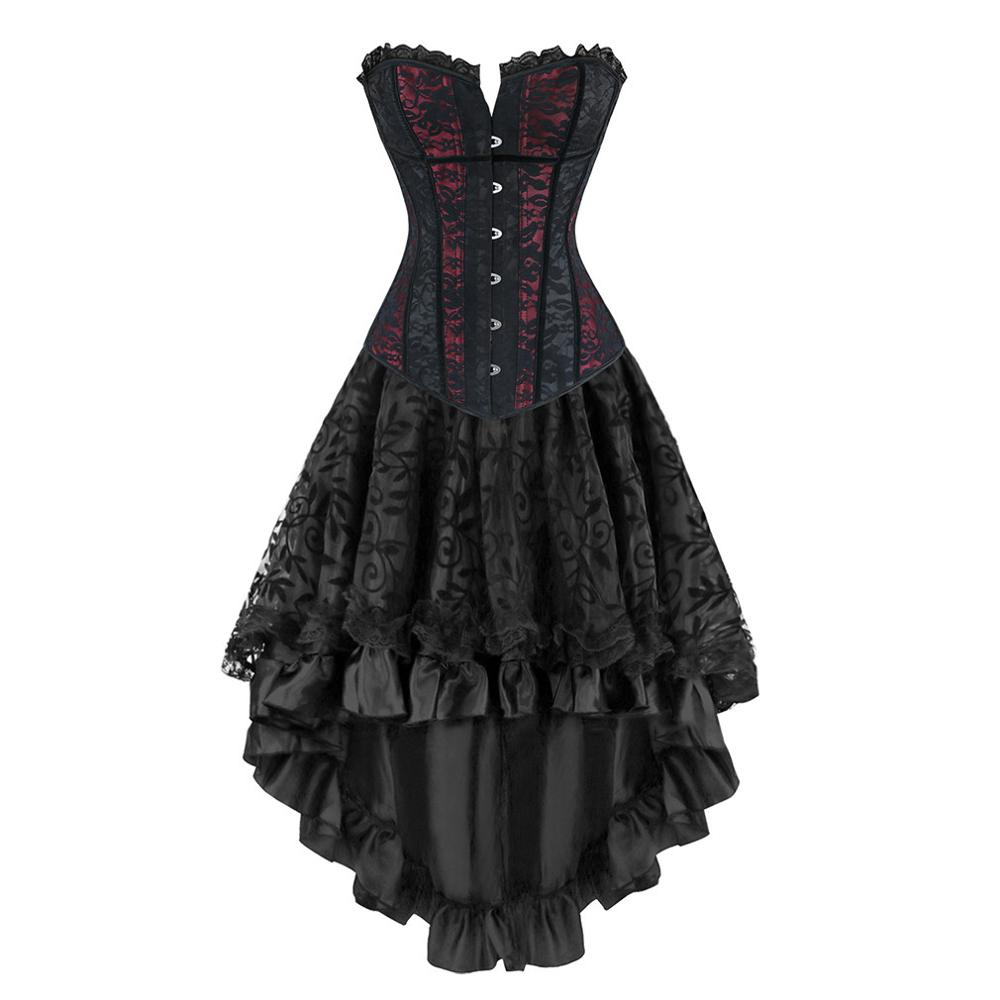 Gothic Burlesque Steampunk Corset Dress Overbust Corsets and Bustiers with Layed Skirt