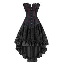 Gotik Burlesque Steampunk korse elbise Overbust korseler ve Bustiers katmanlı etek
