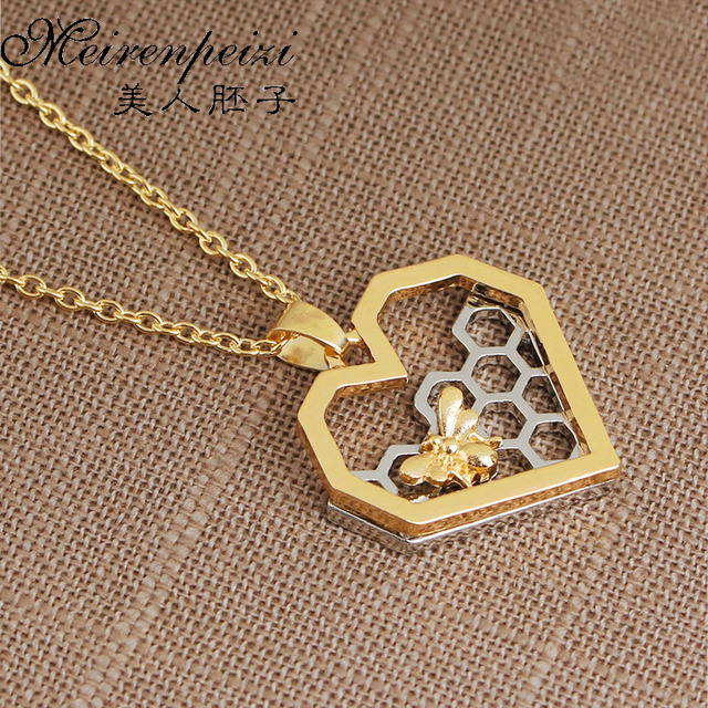Honeycomb Necklace Beekeeper Jewelry Beehive Busy Bee Queen Pendant Gift For Her Geometric Free