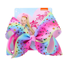 JOJO Siwa 8Inch Large Hair Bow Baby Girls Headwear Colorful Rainbow Ho