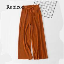 2019 new wide leg pants Korean version of the wild nine pants loose wide leg pants female summer sense high waist pants wide waistband ruffle wide leg pants