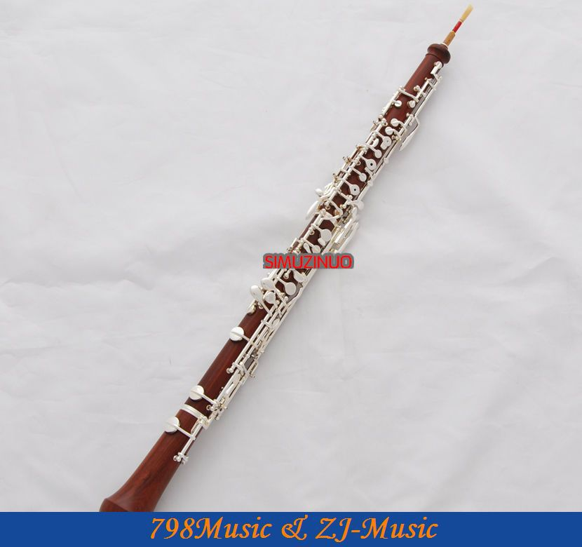 Professional Rose Wooden Body Oboe Silver Plated C Key With Case-Semi-Automatic c p smith on playing oboe recorder flage paper only