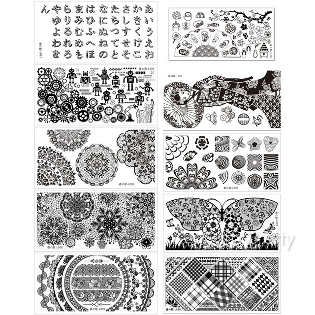 10Pcs 12*6cm Nail Art Stamping Template Rectangle Stamp Image Plates Harunouta L002-L011