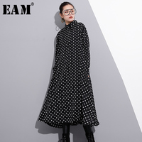 EAM 2018 New Spring Lapel Long Sleeve Black Dot Prointed Solid Color Loose Long Big